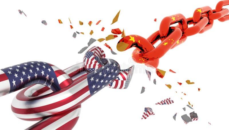 Crise de porcelaine de l'Amérique Etats-Unis et coupure de chaîne de drapeau suttered dans les paix - rendu 3d illustration de vecteur