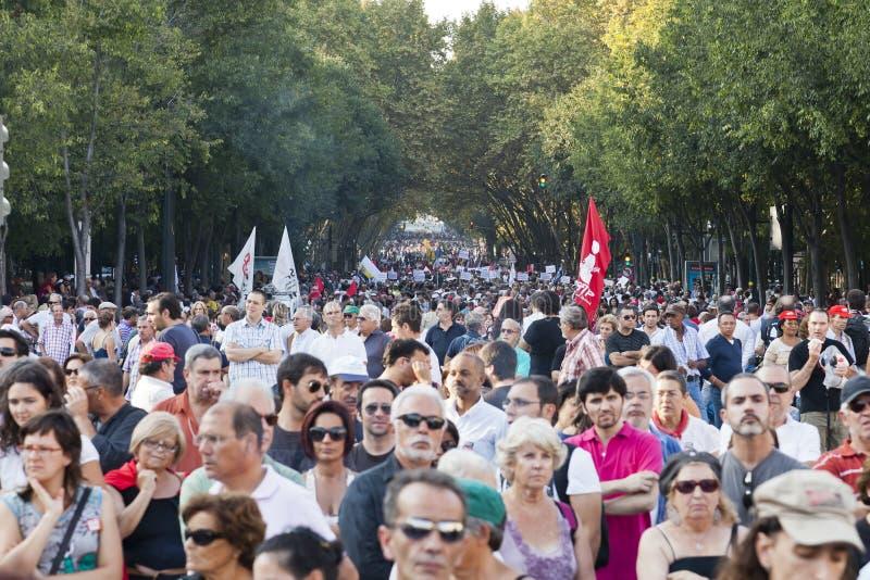 Crise de protestation de démonstration du Portugal Lisbonne images libres de droits