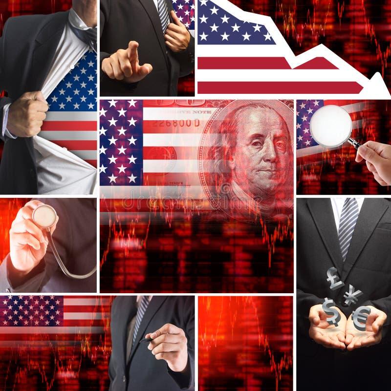 Crise de sciences économiques des Etats-Unis illustration stock