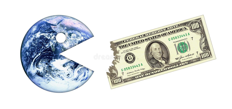 Crise do dinheiro da terra ilustração stock