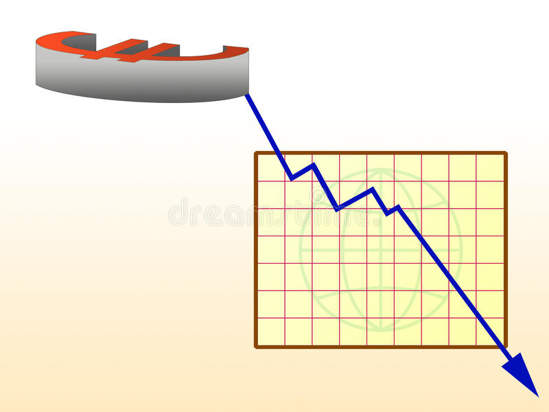 Crise do euro- e de acção mercado de valores fotos de stock