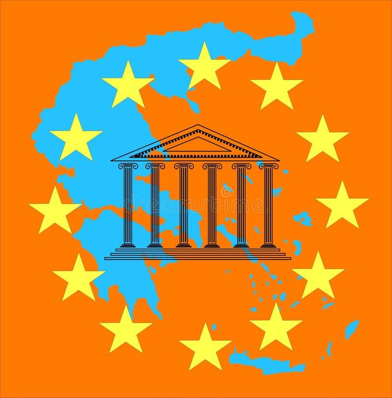 Crise e euro de Greece ilustração stock