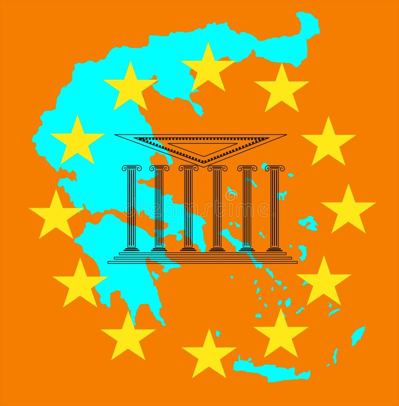 Crise e euro de Greece ilustração do vetor