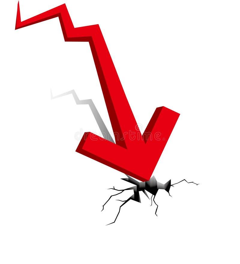Crise económica. Queda do negócio. ilustração stock