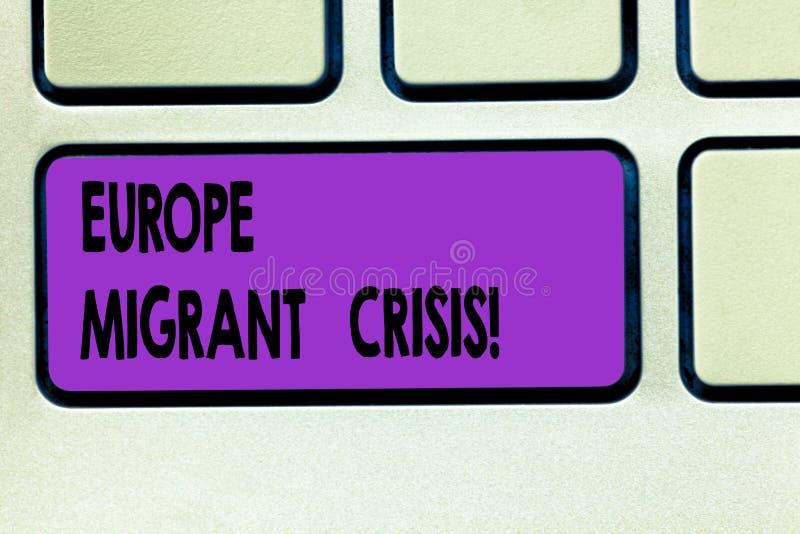 Crise emigrante de Europa do texto da escrita da palavra Conceito do negócio para a crise europeia do refugiado de um período que fotografia de stock
