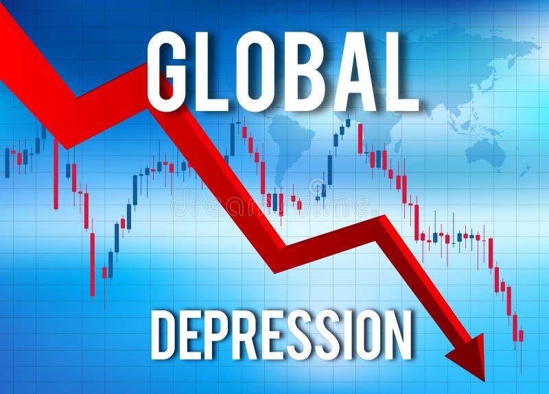 Crise financeira do colapso econômico ilustração royalty free