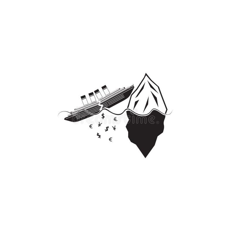 a crise financeira está afogando o ícone do navio Elemento da ilustração do navio Ícone superior do projeto gráfico da qualidade  ilustração royalty free