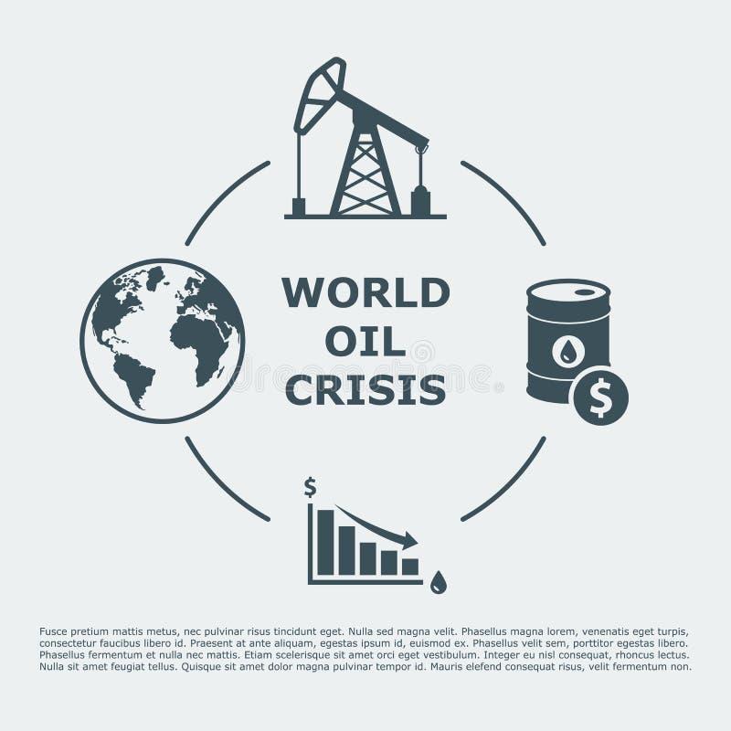 Crise pétrolière du monde infographic illustration de vecteur