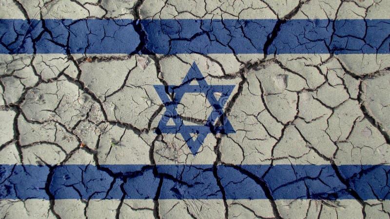 Crise politique ou fissures environnementales de boue de concept avec Israel Flag images stock