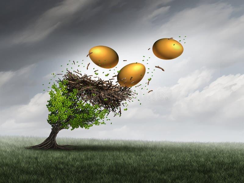 Crisi del fondo di pensionamento illustrazione di stock
