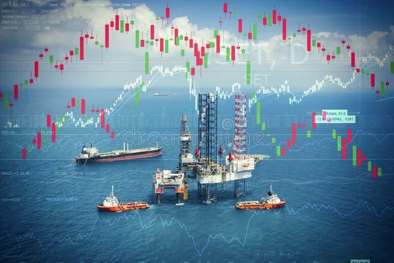 Crisi energetica e di potere con il mercato azionario fotografia stock