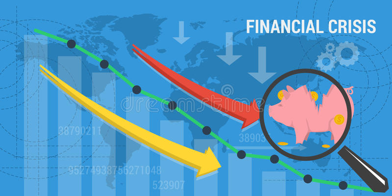 Crisi finanziaria dell'insegna illustrazione vettoriale