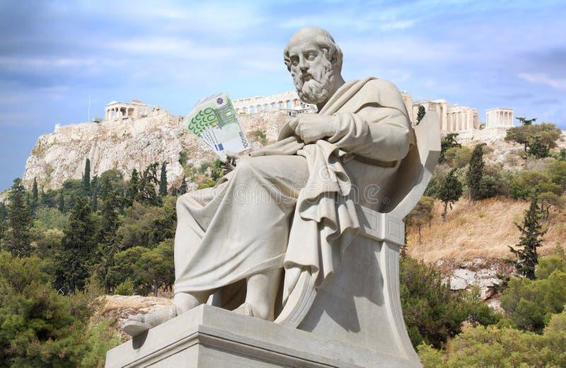 Crisi finanziaria in Grecia ed il concetto di prestiti immagini stock