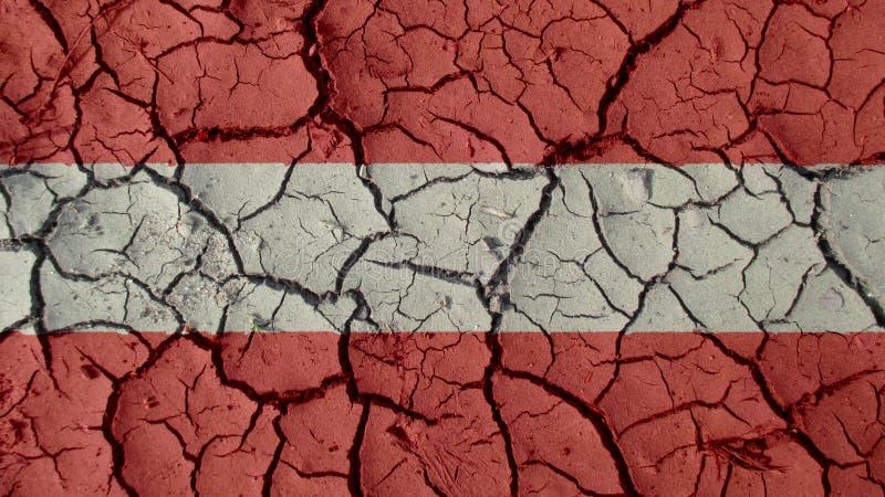 Crisi politica o crepe ambientali del fango di concetto con la bandiera dell'Austria immagine stock