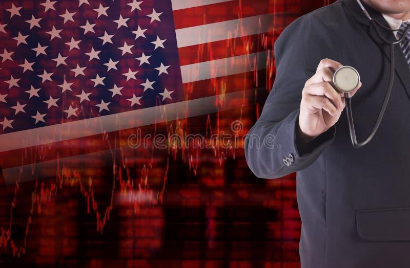 Crisi in U.S.A. con l'uomo d'affari che tiene uno stetoscopio illustrazione vettoriale