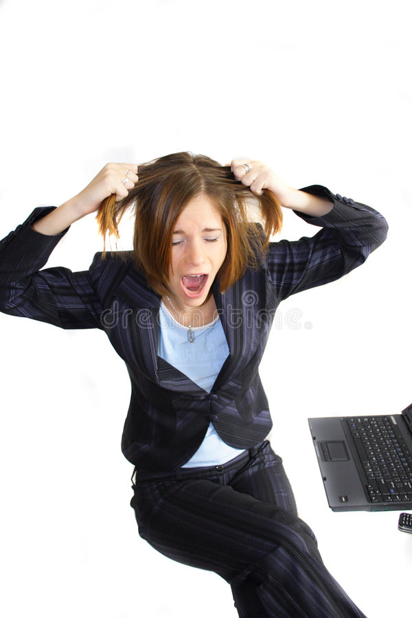 Crisis. Young business woman in a crisis stock photography