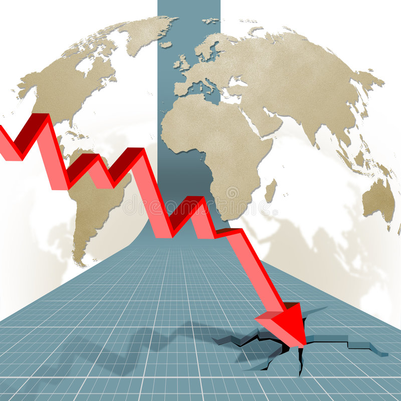 Economic crisis: output in decline royalty free illustration