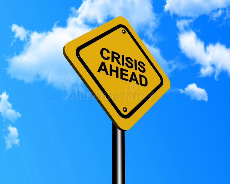 Crisis ahead sign stock image