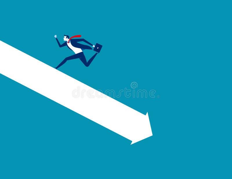Crisis. Businessman run away form falling graph. Concept business vector illustration stock illustration