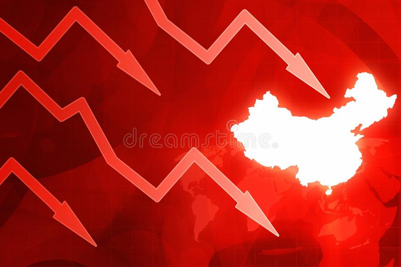Crisis in China - red arrows concept news background illustration. Crisis in China - red arrows concept news red background illustration vector illustration