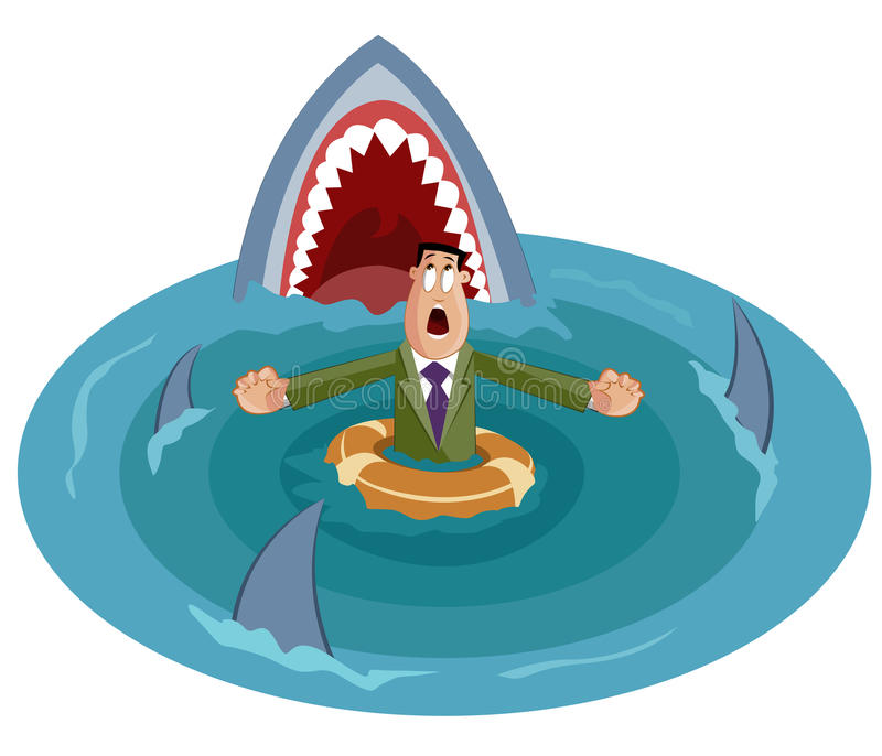Crisis Concept. Businessman surrounded by sharks, Crisis Concept royalty free illustration