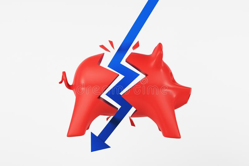 Crisis concept with blue arrow hitting red piggy bank at light background royalty free illustration