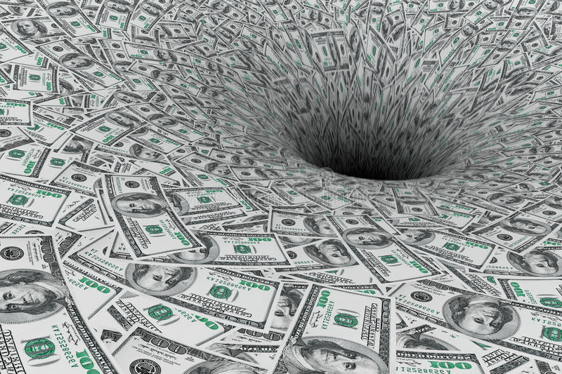 Crisis Concept. Money Flow in Black Hole royalty free stock photo