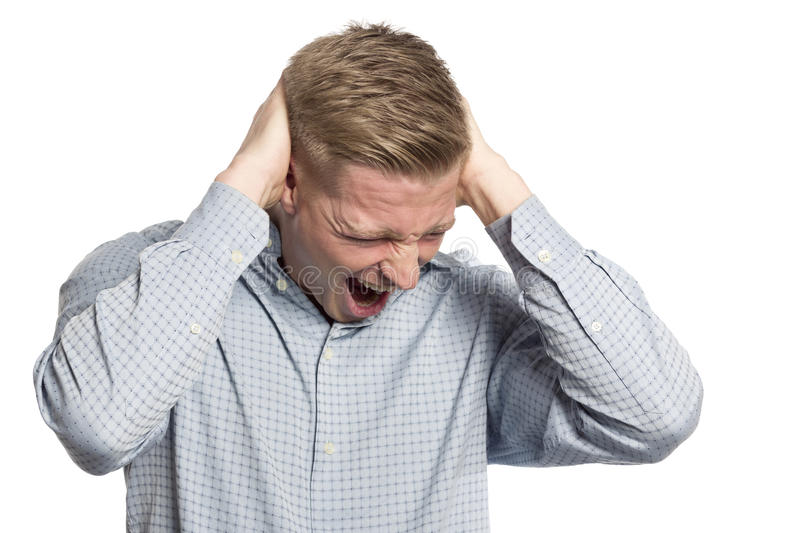 Download Desperate Businessman Shouting With Hands At Head. Stock Photo - Image: 30169136