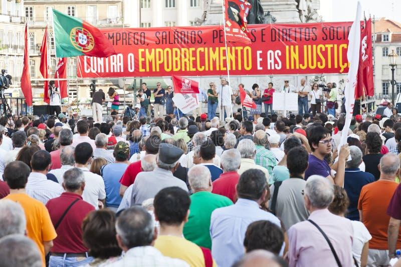 Crisis de la protesta de la demostración de Portugal Lisboa fotos de archivo