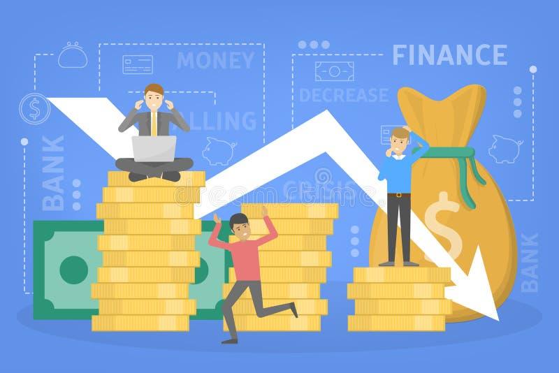 Crisis de las finanzas con caer abajo disminución del gráfico y del dinero ilustración del vector