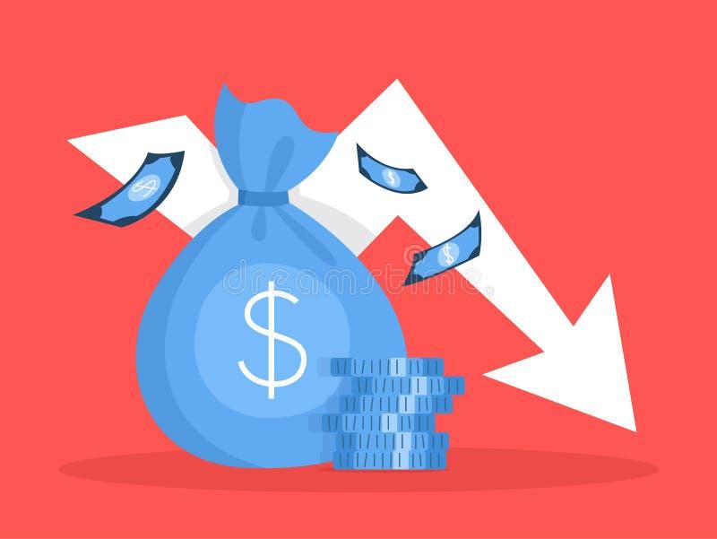 Crisis de las finanzas con caer abajo disminución del gráfico y del dinero stock de ilustración