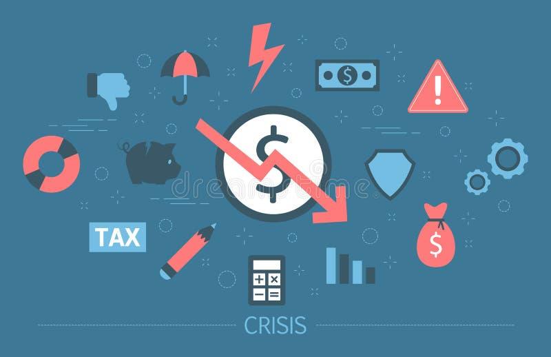 Crisis de las finanzas con caer abajo disminución del gráfico y del dinero libre illustration