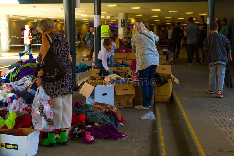 Crisis de los refugiados, en Budapest, Hungría el 15 de septiembre de 2015 foto de archivo libre de regalías