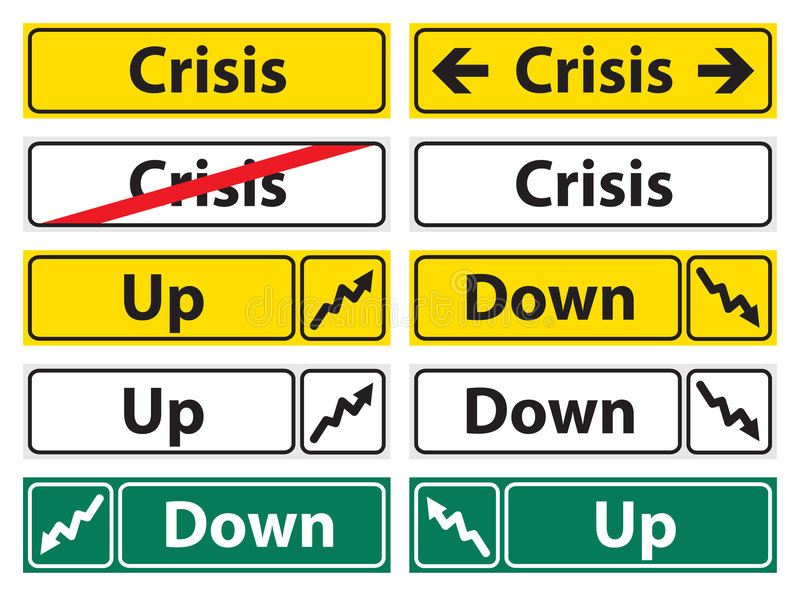 Crisis direction sign stock photo