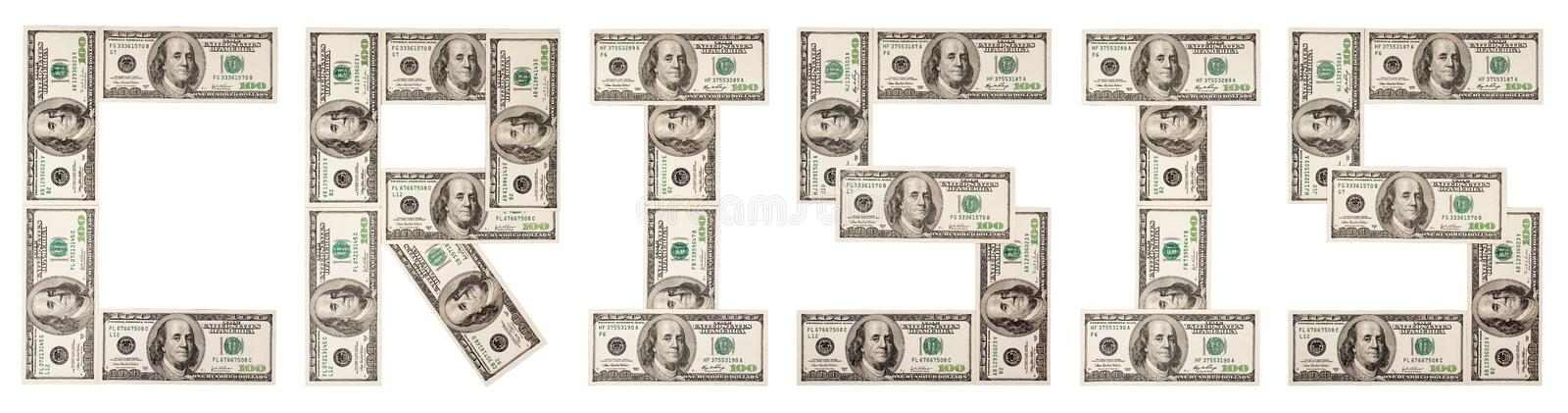 Crisis, dollars, one stock photography