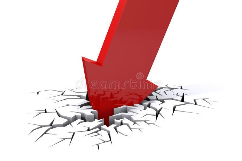 Crisis económica Caída del negocio ilustración del vector