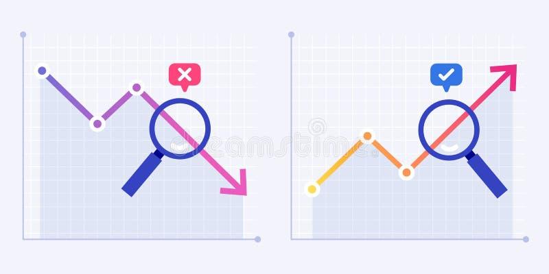 Crisis en de groeianalytics Bedrijfsanalyst, financiële stabilisatie en van de de grafiekvoorspelling van de verkooppijl de vlakk stock illustratie