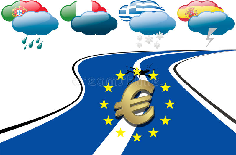 Crisis euro de la deuda ilustración del vector