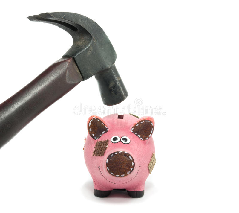 Crisis in financial situation. With piggy bank stock photography