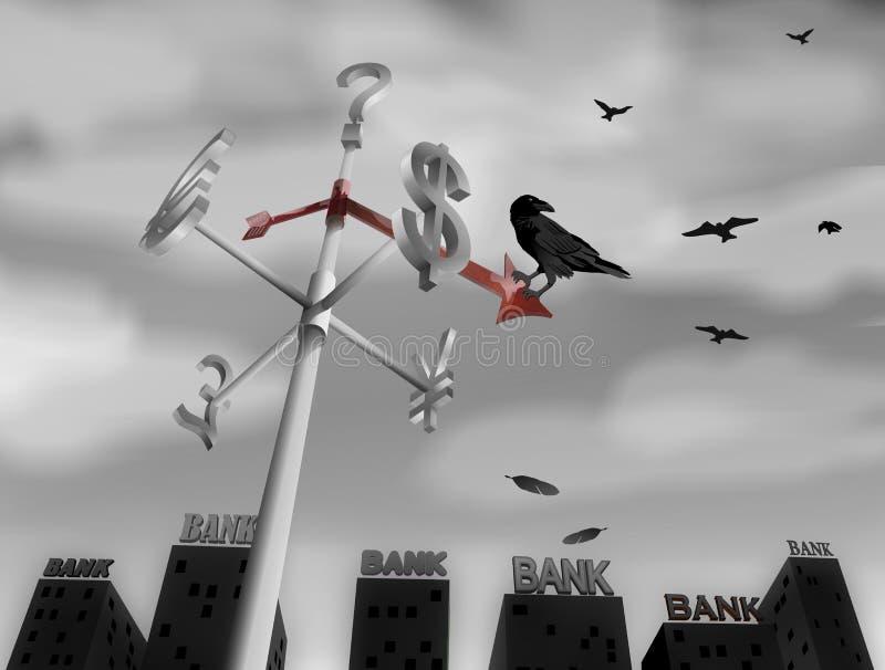 Crisis financiera del mundo ilustración del vector