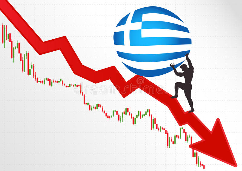 The crisis in Greece and Sisyphus. stock illustration