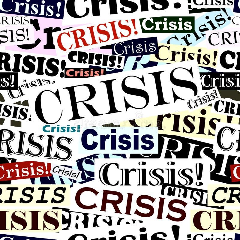 Crisis headlines tile. Editable vector seamless tile of crisis headlines stock illustration