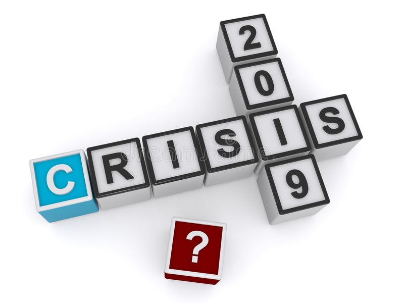 Crisis 2019. An illustration of a crossword with letter cubes and the words crisis 2019 vector illustration