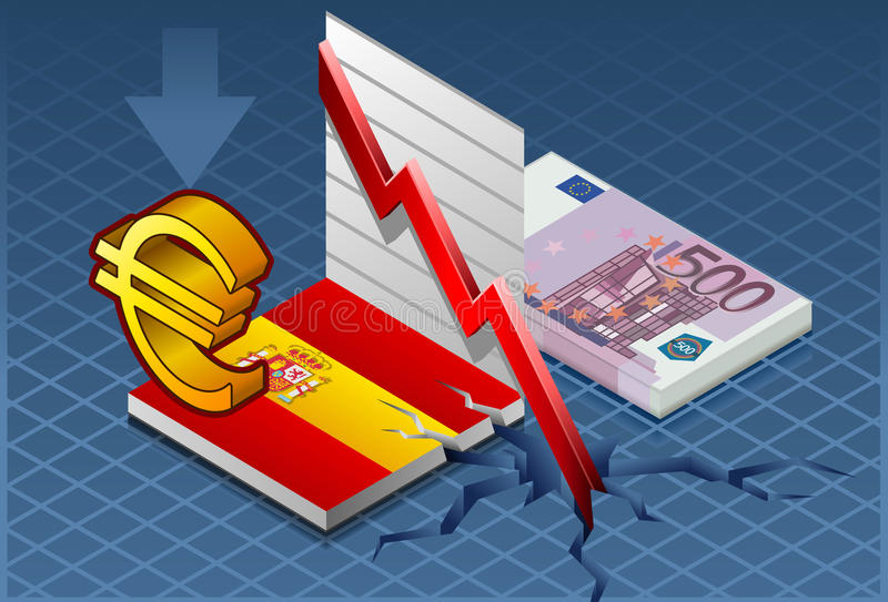 Crisis isométrica de España stock de ilustración