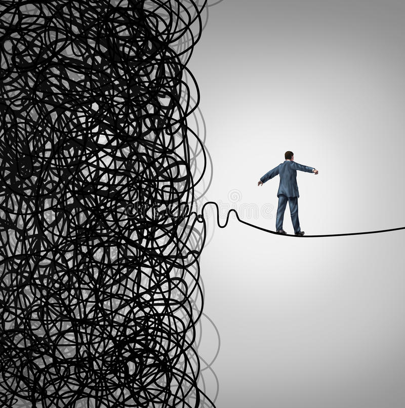 Crisis Management. Business concept as a tightrope walker walking out of a confused tangled chaos of wires breaking free to a clear path of risk opportunity as stock illustration