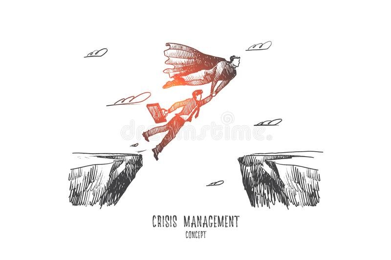Crisis management concept. Hand drawn isolated vector royalty free illustration
