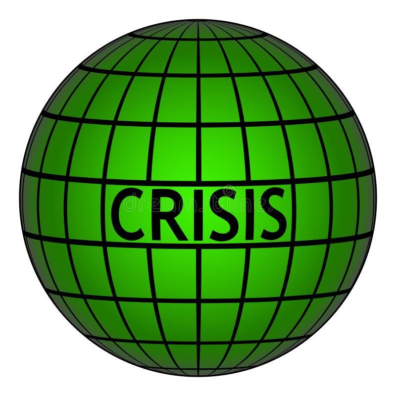 Crisis op aardebol met net, de vectorcrisis van het tekensymbool ter wereld royalty-vrije illustratie