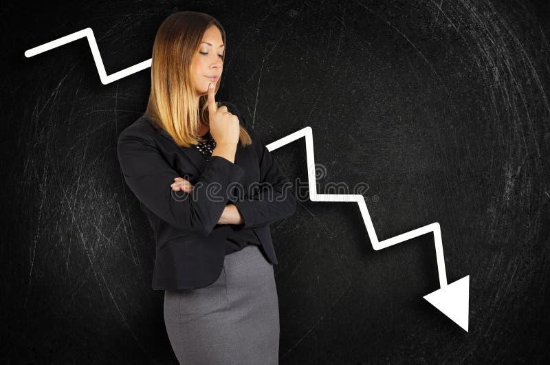 crisis Pérdida de la carta Mujer de negocios preocupante imágenes de archivo libres de regalías