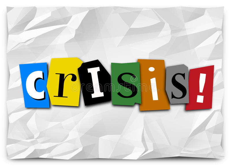 Crisis Ransom Note Emergency Urgent Situation Problem Trouble. Crisis word in cut out letters on crumpled paper like a ransom note to convey a message of vector illustration
