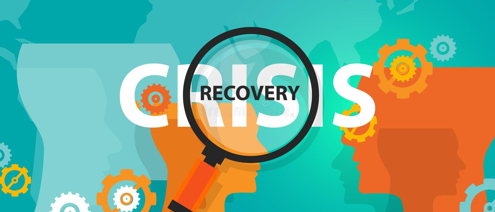 Crisis and recovery from depression concept of thinking analysis mindset thoughts stock illustration